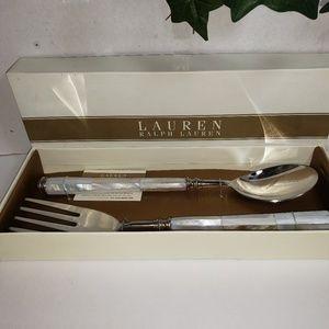 Ralph Lauren Pearl Salad Server  2 pcs   NIB